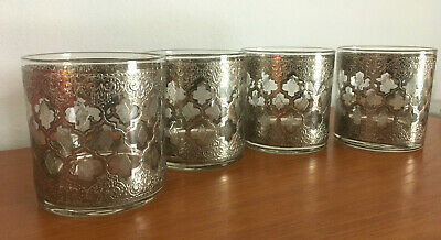 "Set of 4 Vtg MCM Culver Platinum Silver ""Valencia"" Old Fashioned Lowball Glasses"