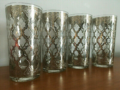 "Set of 4 Vtg MCM Culver Platinum Silver ""Valencia"" Highball Glass Drink Tumblers"