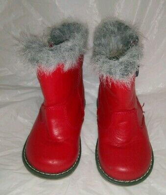 GIRL'S NEXT BOOTS INFANT SIZE 6 RED LEATHER Winter Rain Zip Fur Trim Cute VGC