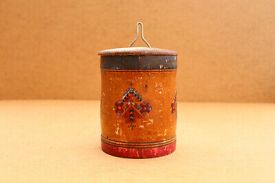 Old Antique Primitive Wooden Wood Bowl Box Vessel for Spices Painted Early 20th.