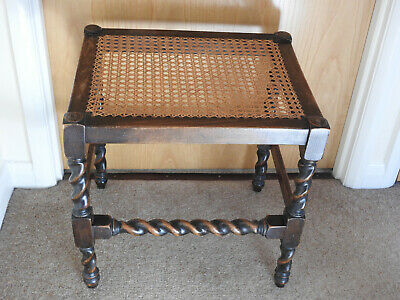 Attractive Antique Cane Seat Stool - Piano Stool / Dressing Stool