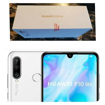 Brand New, Huawei P30 Lite Phone In Pearl White, 128 GB, Locked To O2