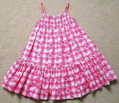Girl's Marks And Spencer Heart/gingham Print White And Red Dress Age 5 Years