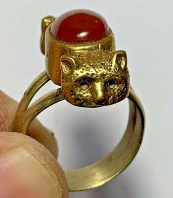 Outstanding Rare Ancient Roman Cooper Ring With 2 Animals - Carnelian Stone