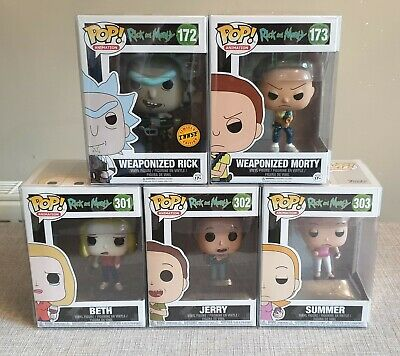 "Funko pop vinyl figures job lot of 5: Rick and morty ""family"" set + chase"