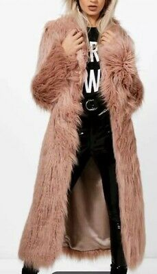BOOHOO Faux Mongolian Fur Long Coat. Dusty Pink. Size 12. Brand New With Tags