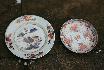 2 Pcs 18th Century Antique Chinese Porcelain Hand Painted Plate