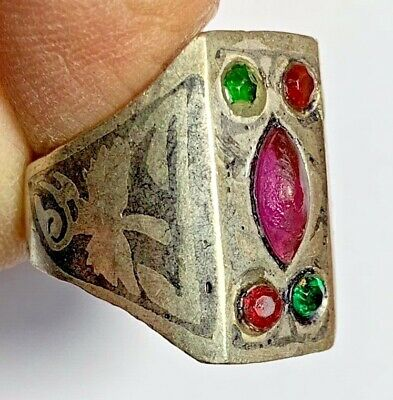 LATE MEDIEVAL SILVERED RING - 5 BRILLIANT RARE STONES 12.3gr 24mm (inner 20mm)