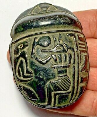 ANTIQUE EGYPTIAN SCARAB ORNAMENT MEDIEVAL INTAGLIO VERY NICE AND INTEREST  73mm