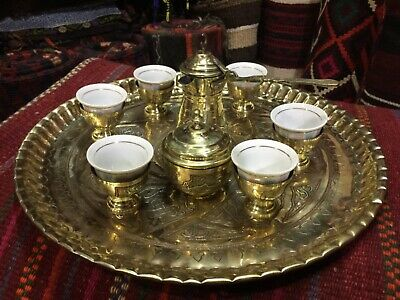 real old syria caffe tray with 6 cup  brass with silver work on ot 19 th century