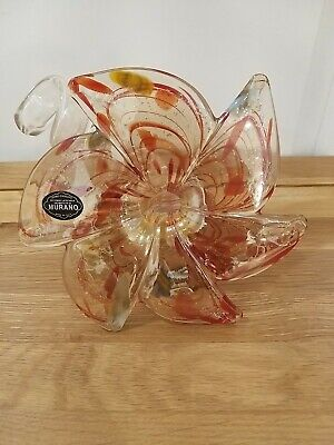 Italian Murano Art Glass medium FLOWER Holder Curlicue Spiral Centerpiece