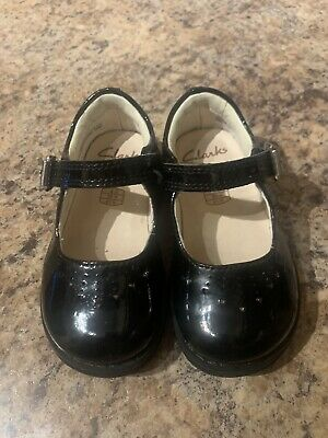 Girls Clarks First Shoes, Black Patent leather, buckle, size UK 4.5G infant