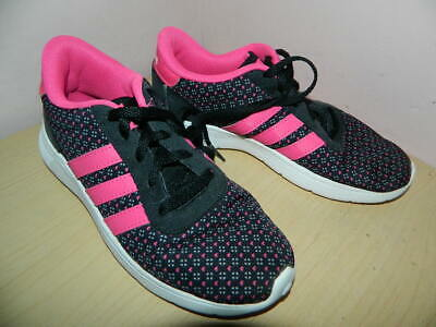 girls Adidas Neo black/pink mix lace up trainers uk 1 eur 33 * nice condition