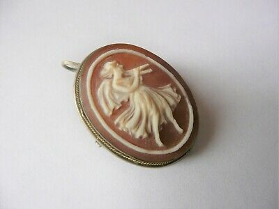 Antique Carved Angel Cameo Brooch Pin Pendant Silver with Gold Trim