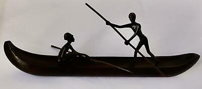 Austrian Bronze Figures of Africans in a Wooden Canoe: Richard Rohac attributed