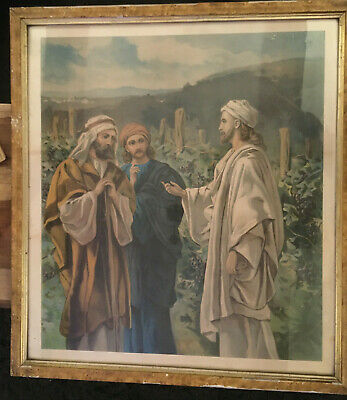 AN OLD VERY LARGE WOODEN FRAMED VINTAGE PRINT of A BIBLICAL SCENE