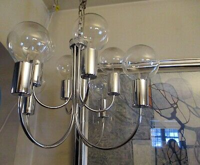 Mid-century Modern Glam Hollywood Regency 9-Arm Chrome Chandelier Ready to Hang