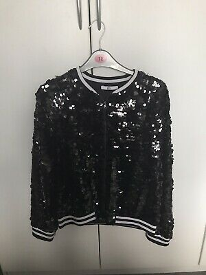 Girls M&S Black Sequin Bomber Jacket Age 13-14 Years. Excellent Condition