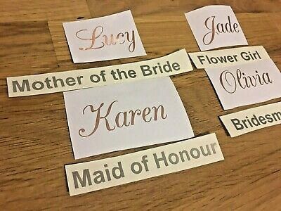 1 X Bridal Name & Role Rose Gold Champagne Flutes  Seating Plan Hen Party 3 Font