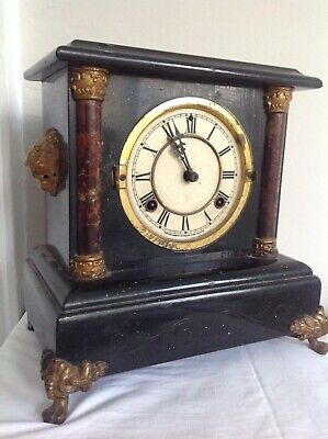 Antique Marble Effect Wooden Clock In French Style - Joseph Beringer, Belfast