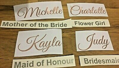 10 X Bridal Name & Role Metallic Champagne Flutes  Seating Plan Hen Party 3 Font
