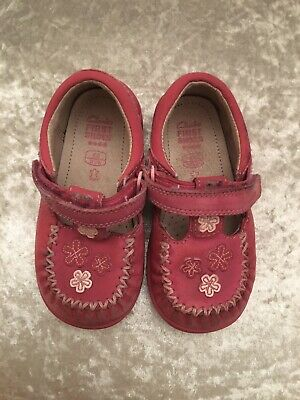 CLARKS Childs /Toddler Girls Size 6G 22.5 Soft Leather Pink First Shoes Strap Up