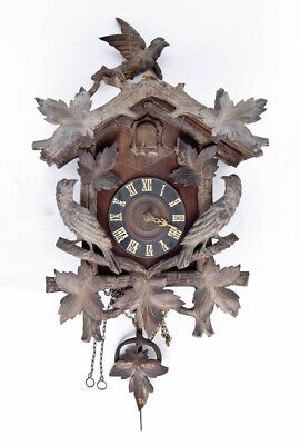 German Black Forest carved walnut cuckoo clock @ 1890 Nice Project