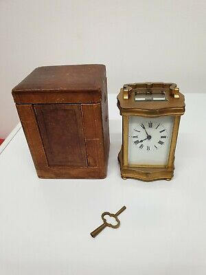 Antique Carriage Clock And Original Case Working With Key Circa 1900