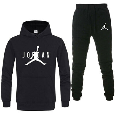 Men's Pullover Pants Trousers Tracksuit Set Hoodie Casual Jordan Black L