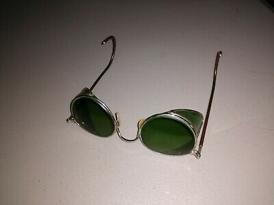 Authentic BAUSH & LOMB Vintage Steampunk Aviator Motorcycle Safety Goggles green