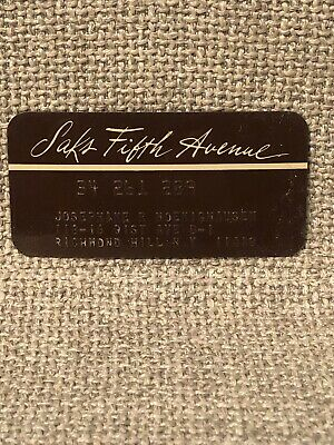 Saks Fifth Avenue Department Store Vintage Collectors Credit Card
