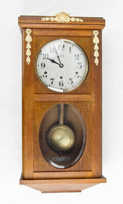 French 8 day Westminster chiming wall clock @ 1910 Original Working Vedette
