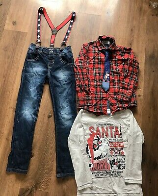 Boys 5-6 Years (6 Yrs) Bundle Of Smart Xmas Shirt, Tie, Jeans Braces Vgc! NEXT