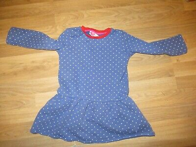Girls Mini Boden Sweatshirt Dress - Blue with white spots, Age 4-5