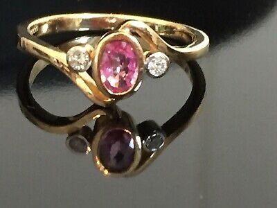 Beautiful Pink Sapphire And Diamond 9ct Gold Art Deco Ring Size N