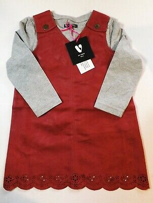 Very girls age 3/4 years red suedette pinafore and grey marl top set