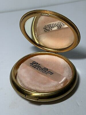 VINTAGE Signed LIN BREN CREATION Powder Pouf COMPACT Mirror GOLD TONE Hinged