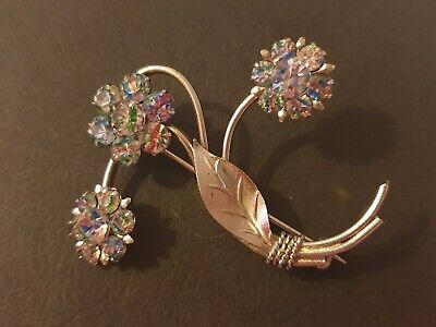 Two Beautiful Vintage Iris Glass brooches