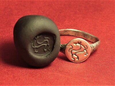 Fine Medieval Knight's Silver Seal Ring - Horse Seal, 11. Century - Inlay!