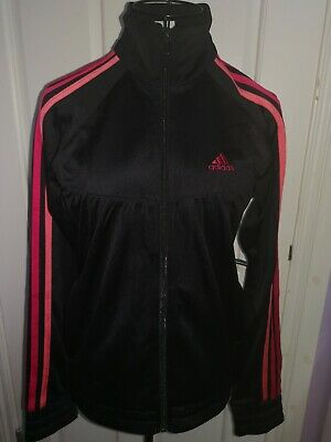 Girls Adidas Tracksuit Top Size 13/14 years. Black with pinks. Good condition.