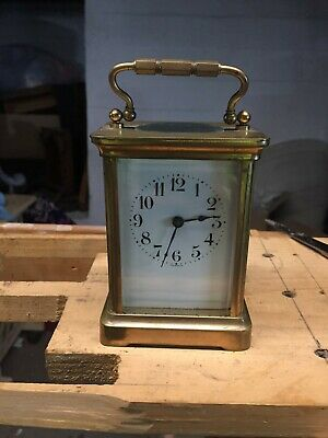 Antique French Duverdrey & Bloquel brass 8 day carriage clock working