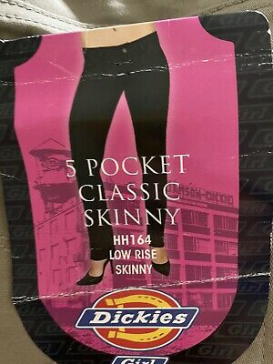 Dickies Girls 5 Pocket Classic Skinny Pants Size 5 Low Rise New HH164