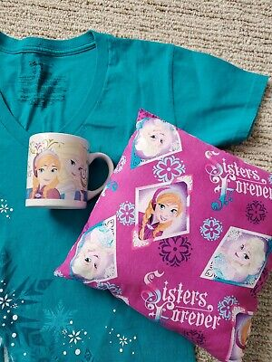 Disney Elsa Shirt Small + Porcelain Drinking Cup + Pillow Sisters Forever COMBO