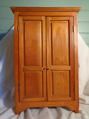 Antique AAFA Wood Cabinet DOLL HOUSE MINIATURE WARDROBE CHEST HAND MADE OLD