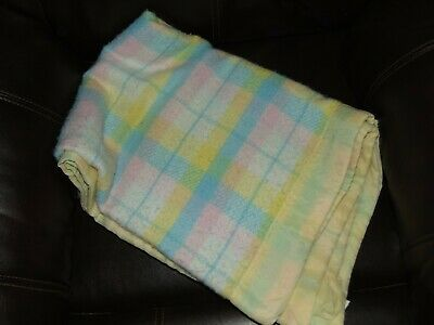 Vtg Thermal Waffle Weave Blanket Acrylic Baby Plaid pastels USA 37 x 50 in