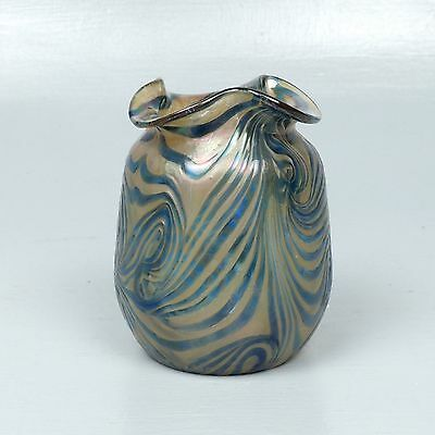 Antique Kralik Blue On Gold Art Glass Vase - Pulled Feather King Tut Loetz GL