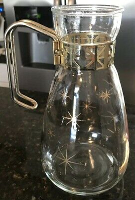 Vintage Glass MCM Coffee Carafe Atomic Starburst Pattern Gold Mid Century 1960's