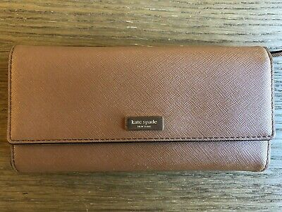 KATE SPADE Tri-Fold Wallet - Leather - Brown, Cognac, Tan - GREAT CONDITION