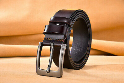 Leather Mens Belt Belts Real Genuine Buckle Trouser Brown Black Tan Jeans new UK