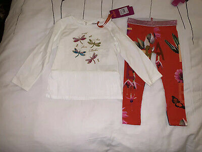 Ted Baker Baby Girls Off White Dragonfly Top & Bottom Set Age 18-24 Months